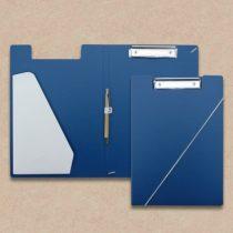 Klemmmappen blau mit steckfach weiss und kugelschreiber