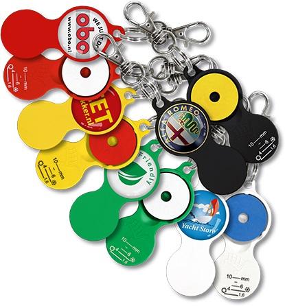 Schlüsselanhänger Einkaufswagenchip Profiltiefenmesser