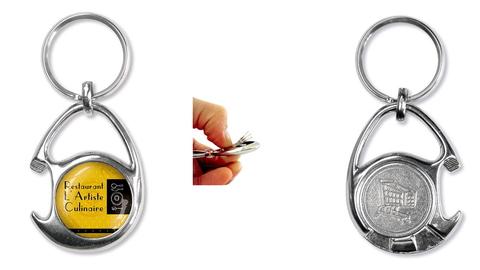 Schlüsselanhänger mit einkauf-chip und Flaschenöffner