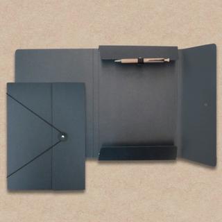 Collegemappe aus Anthrazit-Karton mit Kulihalterung