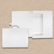 Prospektkoffer aus Karton, weiß DIN A4