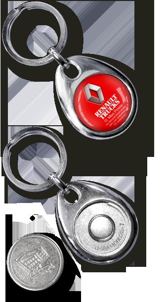 Metall Schlüsselanhänger Einkaufswagenchip Silver Coiny