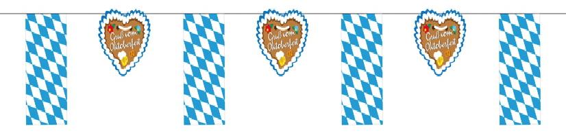 """Fahnenketten """"Raute blau/weiß im Wechsel mit Lebkuchenherz"""""""
