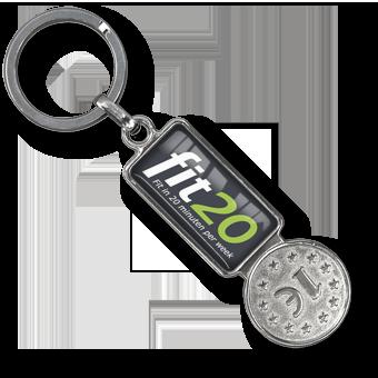 Metall Schlüsselanhänger Einkaufswagen Chip Coiny Metall,