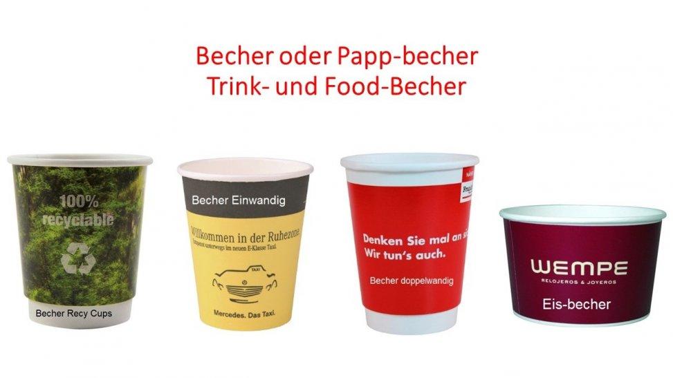 Becher oder Papp-Becher auch Trink-Becher und Food-Becher für den Werbung