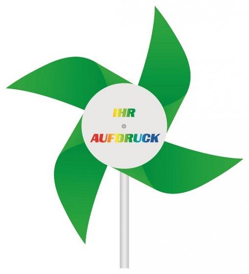 Windmühlen Kunststoff grün mit Werbeaufdruck