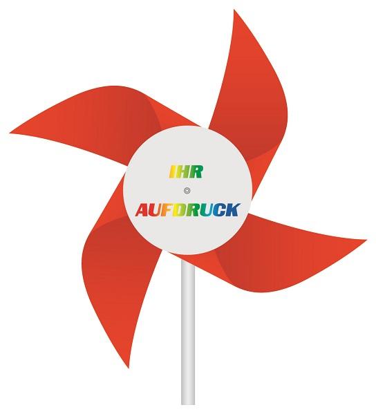 Windmühlen Kunststoff Rot mit Werbeaufdruck , Windmühlen Kunststoff Rot, Windmühlen Rot, Windmühlen Kunststoff,