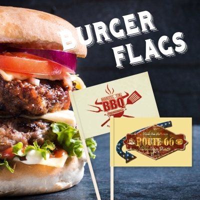 Burger-Flags, Burger Flags,Minifahnen, Minifaehnchen, Holzpicker, Holz picker.