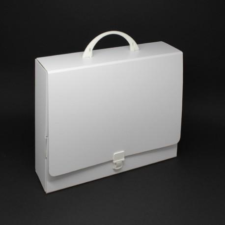 Koffer aus Karton, weiß, Fuellhöhe 8 cm