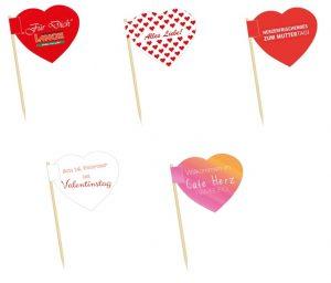 Minifahnen Herz, Minifähnchen Herz, Kaesepicker Herz, Holzpicker Herz, Minifahnen, Minifähnchen, Holzpicker, Kaesepicker. Werbemittel, Werbung, Werbeartikel, Partyartikel,