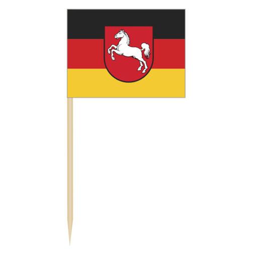 Minifahnen Niedersachsen, Dekopicker Niedersachsen, Kaesepicker Niedersachsen, Minifaehnchen Niedersachsen, Picker Bundesländer, Minifahnen, Dekopicker, Minifähnchen, Fisch-picker, Fleisch-picker, Wurst-picker, Geflügel-picker, Partyartikel, Werbung, Werbeartikel, Werbemittel, Minifahnen Dekopicker / Käsepicker Niedersachsen,