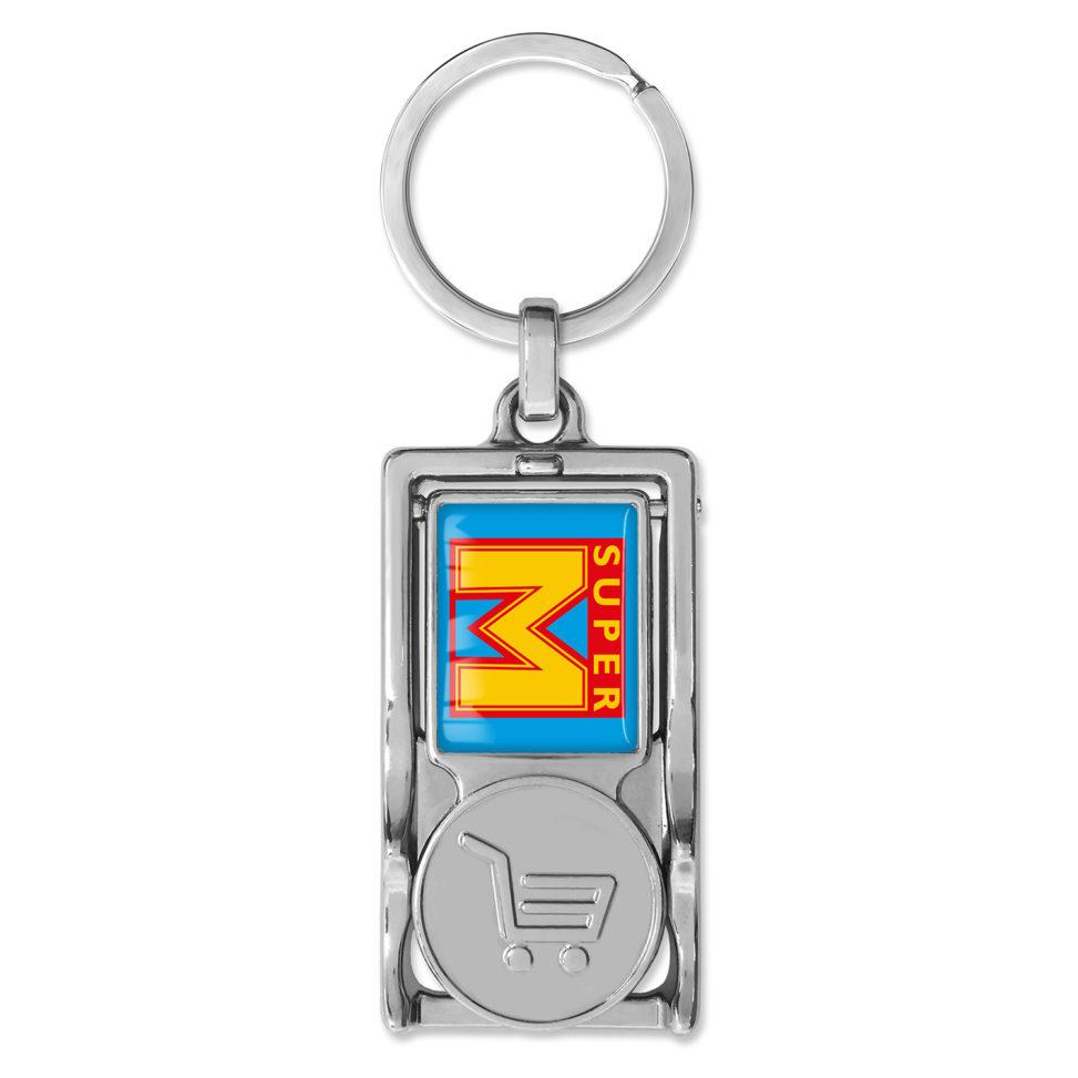 Multifunktionaler Schlüsselanhänger mit Einkaufswagenlöser und Flaschenöffner, verwendbar als Mobiltelefonhalter mit 4c digital