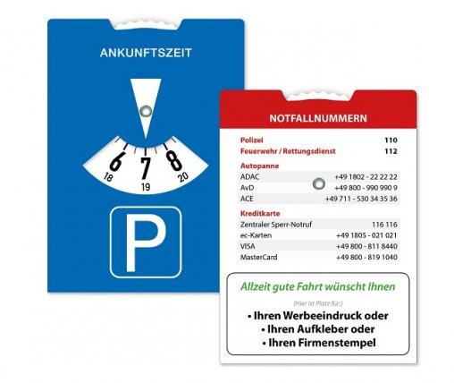 Parkscheibe Notfallnummern, Parkscheiben Notfallnummern, Notfallparkscheibe Freisteller,