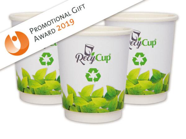 RecyCup, RecyCup Doppelwandig Becher, Doppelwandig Becher, Doppelwandig-Pappbecher, Pappbecher, Werbe-Becher,