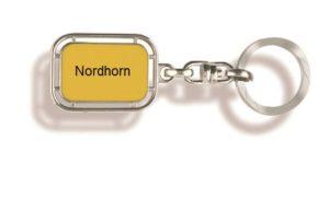 Schlüsselanhänger Nordhorn, Schlüsselanhänger, Werbe Schlüsselanhänger, Nordhorn, Schlüsselanhänger Stadt, Schlüsselanhänger Ortsschild, Orts Schlüssel-anhänger, Ortsschild, Werbung, Werbeartikel, Werbemittel,