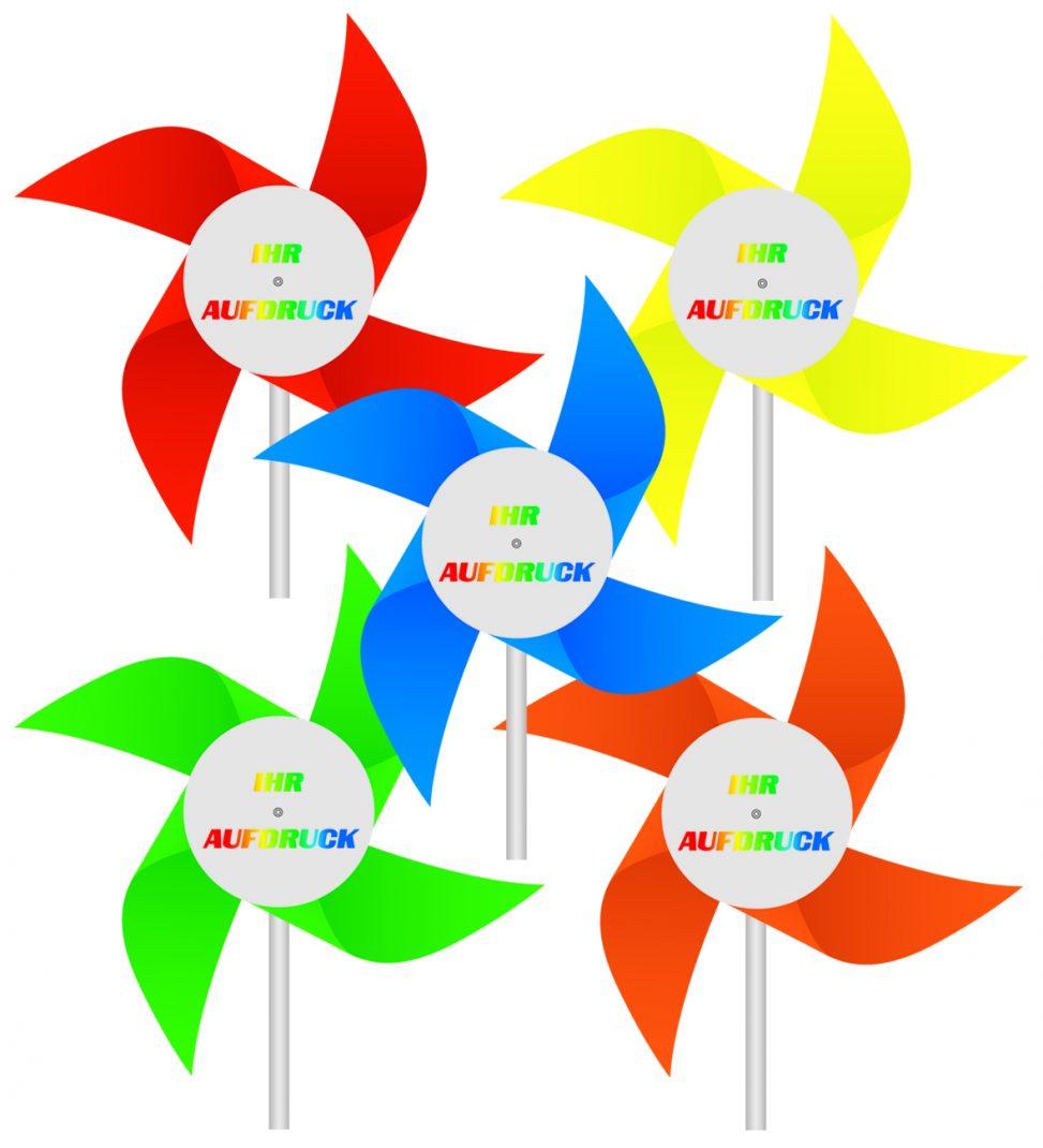 Windmühlen, Kunststoff mit Werbeaufdruck